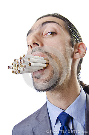 Anti smoking concept - man