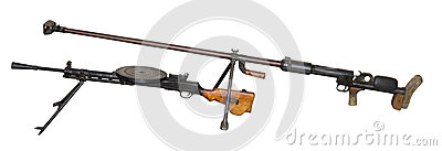 Anti-tank gun and Degtyaryov s machine gun