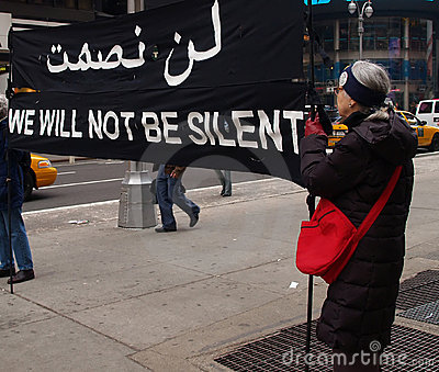 Anti-war protest at Times Square Editorial Photo