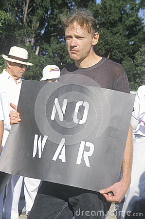 Anti-war protester in black Editorial Stock Photo