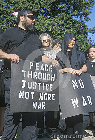 Anti-war protester in black Editorial Photo