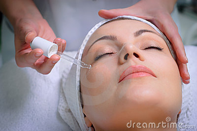 Anti-wrinkle skin treatment at beauty salon