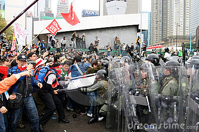 Anti-WTO Protests in Hong Kong Editorial Photo