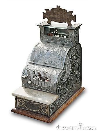 Antiek geïsoleerde kasregister,