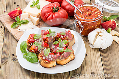 Antipasti (Bruschetta) on a plate
