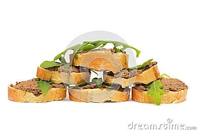 Antipasto. Pate, arugula and baguette slices