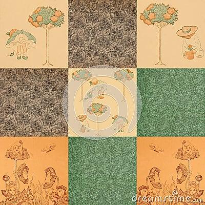 Antiqe child garden book end paper patterns
