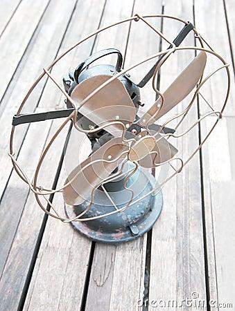 Antiquated dusty fan wooden decking