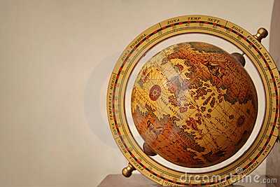 Antiquated explorer s globe