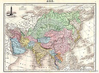 Antique 1870 Map of Asia
