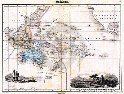 Antique 1870 Map of Austalia