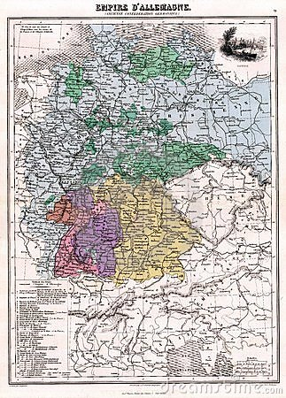 Antique 1870 Map Germany