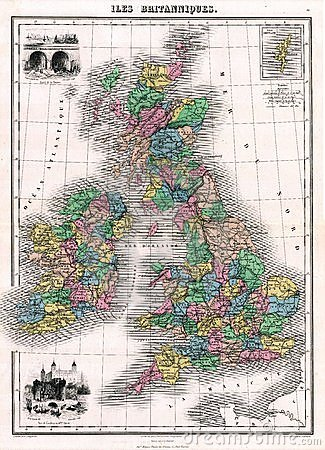 Free Antique 1870 Map Of Great Britain And Ireland Stock Photography - 881742