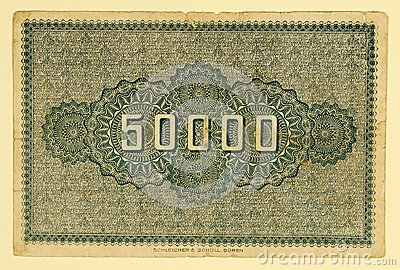 Antique 1923 German 50000 Mark, Back