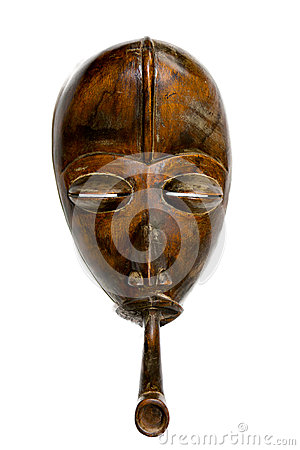 African Congolese Mask with Pipe