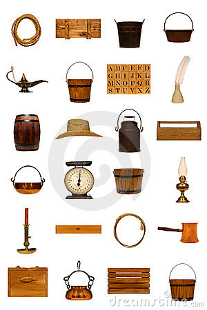 Antique Americana Old Objects Collection Isolated