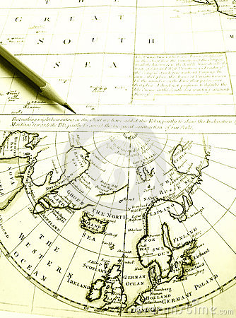 Antique arctic circle & North Pole map chart