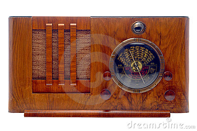 Antique Art Deco Tube Radio Isolated on White