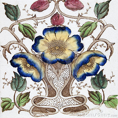 Free Antique Art Nouveau Tile Stock Image - 4064971