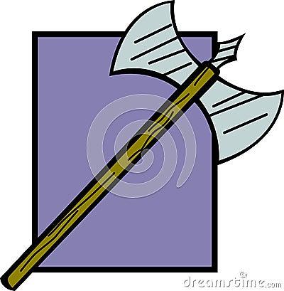antique axe weapon vector illustration