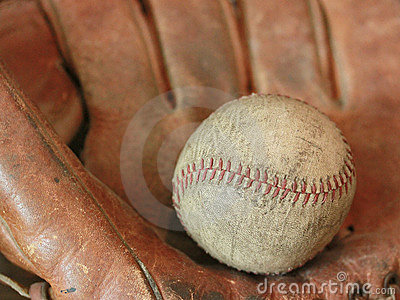Antique Baseball with Glove