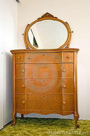 Antique bird s eye maple dresser with mirror