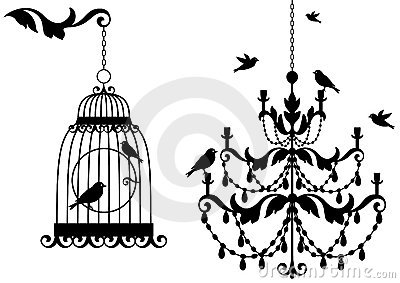 Antique birdcage and chandelier,