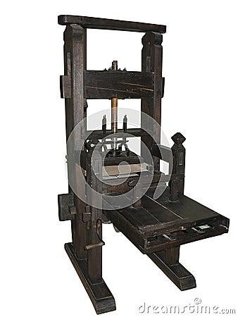 Antique black letterpress isolated on white
