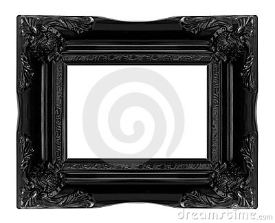 Antique black  wooden picture frame