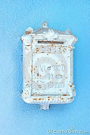 Antique blue mailbox