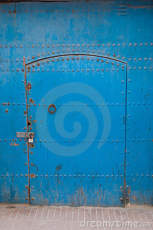 Antique blue metallic door