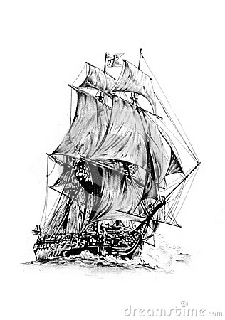 Royalty Free Stock Photos Antique Boat Sea Motive Drawing Handmade Art Work Using Pencil Artistic Paper Image40330098
