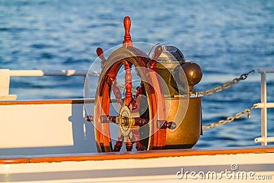 Antique Boat Steering Wheel & Compass