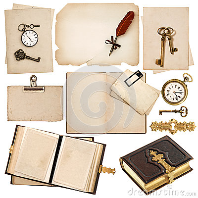 Free Antique Book And Vintage Accessories Isolated On White Stock Photo - 31979990