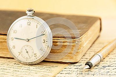 Antique book and clock