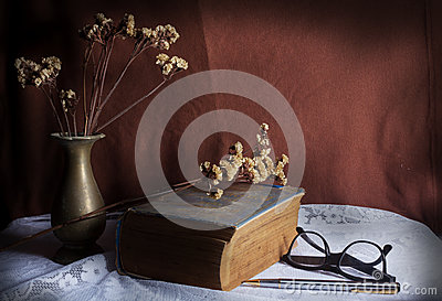 Antique book on table.