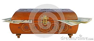 Antique box with money