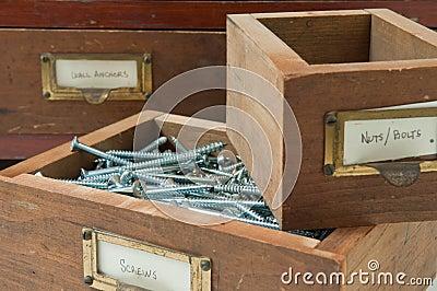 Antique Box of Screws