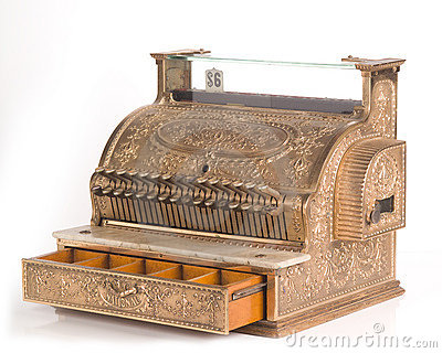 Antique Brass Cash Register