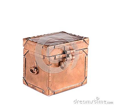 Antique brass coffret with lock.