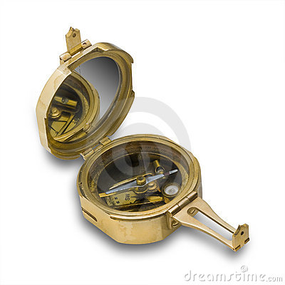 Antique brass compass,isolated