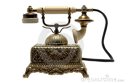 Antique Brass Cradle Telephone Isolated on White