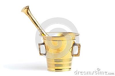 Antique brass mortar and pestle set