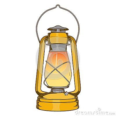 Free Antique Brass Old Kerosene Lamp Isolated On A White Background. Colored Line Art. Retro Design. Stock Image - 46645211