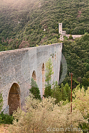 Antique bridge aqueduct in Sploleto, Italy