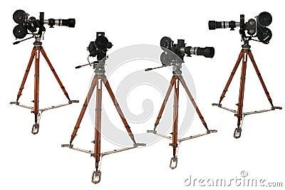 Antique Broadcast Film Reel Camera in Many Positio