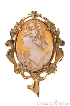 Free Antique Cameo Brooch Broach Isolated On White Stock Images - 7592984