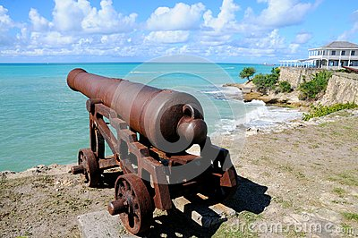 Antique cannon looking at sea