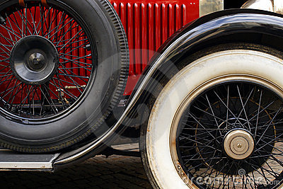 Antique car fender and wheels