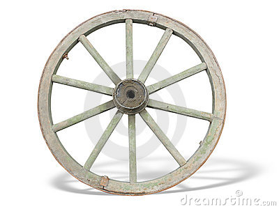 Antique Cart Wheel made of wood and iron-lined